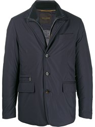 Moorer Fitted Padded Jacket Blue