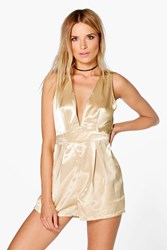 Boohoo Plunge Metallic Playsuit Gold
