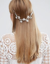 Love Rocks Flower Hair Piece Silver