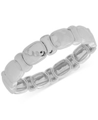 Nine West Silver Tone Sculptural Stretch Bracelet