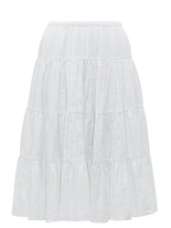 Loup Charmant Falco Jacquard Stripe Cotton Midi Skirt White