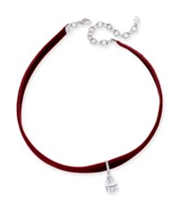 Danori Eliot Silver Tone Crystal Teardrop Velvet Ribbon Choker Necklace Red