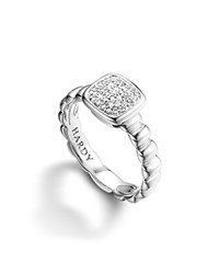 John Hardy Bedeg Silver Square Station Slim Band Ring With Diamond Pave No Color