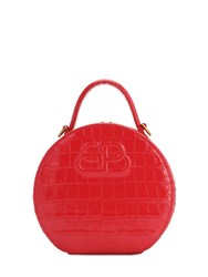 Balenciaga Xs Vanity Croc Embossed Leather Bag Red