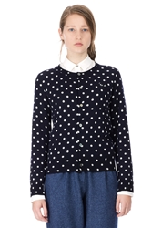 Comme Des Garcons Polka Dot Cardigan Navy White Black
