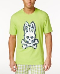 Psycho Bunny Men's Sleepwear Graphic Print Logo T Shirt Macaw Green