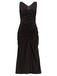 Dolce And Gabbana Ruched Front Silk Blend Dress Black