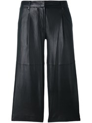 Michael Michael Kors Leather Cropped Pants Black