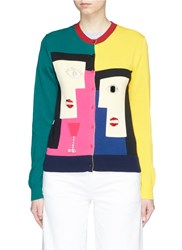 Muveil Geometric Woman Face Embellished Cardigan Multi Colour
