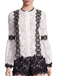 Alexis Daisy Lace Long Sleeve Blouse Black White