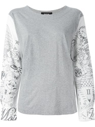 Zucca Tattoo Print Sleeve T Shirt Grey