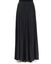 Lanvin Long Pleated Washed Satin Skirt Black