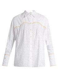 Thierry Colson Rick Leaf Print Cotton Shirt Yellow White