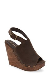 Women's Five Worlds By Cordani 'Manzanillo' Wooden Wedge Sandal Brown Nubuck
