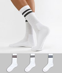 French Connection Stripe Multipack Socks White