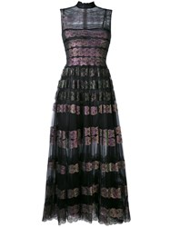 Christopher Kane Long Lace Foil And Tulle Dress Polyimide Black