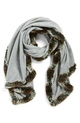 Women's Badgley Mischka Faux Fur Trim Wrap Grey