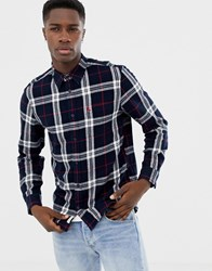 Jack Wills Langworth Flanel Check Shirt In Navy