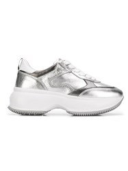 Hogan Lace Up Sneakers Silver