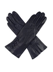 Dents Ladies Leather Gloves 4 Bl With Silk Lining Navy