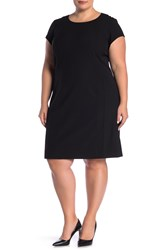 Lafayette 148 New York Seam Detailed Wool Blend Dress Plus Size Black