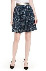 Ted Baker London Motrie Pleated Miniskirt Navy