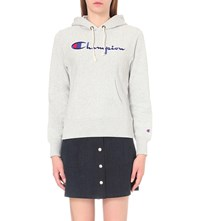 Champion Logo Embroidered Jersey Hoody Grey