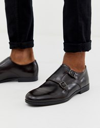 Hudson H By Rye Monk Shoes In Burgundy Leather Red