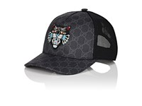 Gucci Men's Cat Embroidered Gg Supreme Baseball Cap Black Grey