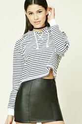 Forever 21 Stripe Cropped Hoodie