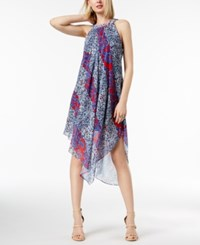 Inc International Concepts I.N.C. Petite Printed Halter Midi Dress Created For Macy's Majestic Plum