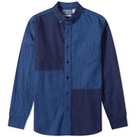 Blue Blue Japan Dyed Flannel Panel Shirt Blue