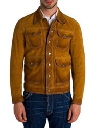 Dsquared Textured Suede Leather Jacket Camel
