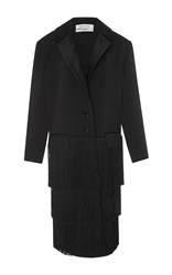 Prabal Gurung Tailored Coat With Fringe Black