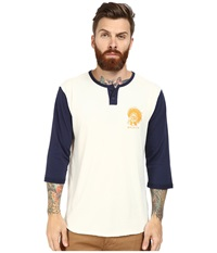 Brixton Crow 3 4 Sleeve Henley Off White Navy Men's Long Sleeve Pullover