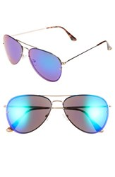 Women's Vince Camuto 60Mm Aviator Sunglasses Gold Green Mirror
