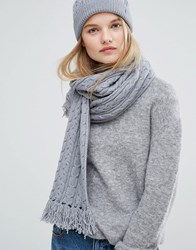 Tommy Hilfiger Grey Knitted Scarf And Beanie Gift Set Medium Grey Heather