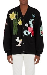 Gucci Men's Patch Embellished Wool Cardigan Black
