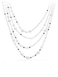 David Yurman Oceanica Pearl And Bead Link Necklace With Pearls And Black Spinel No Color