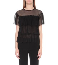 Claudie Pierlot Tartine Tulle And Jersey Top Noir