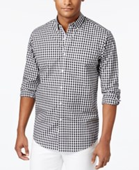 Club Room Men's Cotton Gingham Shirt Only At Macy's Deep Black