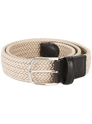Canali Braided Elastic Belt Nude Neutrals
