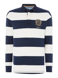 Howick Shanly Block Stripe Long Sleeve Rugby Shirt Navy