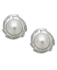 Macy's Sterling Silver Earrings Cultured Freshwater Pearl And Diamond Accent Petal Stud Earrings