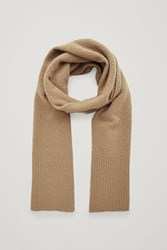 Cos Boiled Wool Boucle Scarf Beige