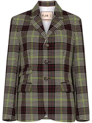 Plan C Checked Single Breasted Blazer 60