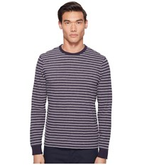 Jack Spade Striped Long Sleeve Crew Dark Navy