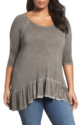 Dantelle Plus Size Women's Oil Dye Knit Drop Waist Top Falcon