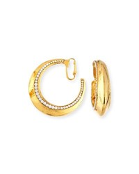 Jose And Maria Barrera Beaded Golden Clip On Hoop Earrings