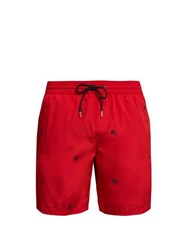 Burberry Logo Embroidered Swim Shorts Red Multi